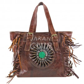 Moroccan Leather Handbag  Stone Decorated