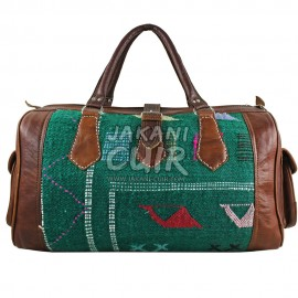 leather travel bag with kilim