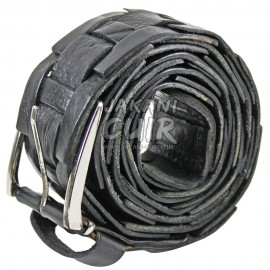 Black cowhide leather belt Ref:CKC