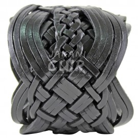 Ceinture noir en cuir tressé Réf:CTLC