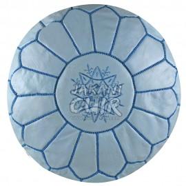 Pouf marocain cuir en couleur bleu ciel