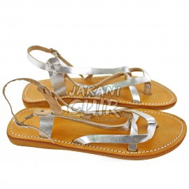 Moroccan Silver Leather Sandal Ref:S1SK