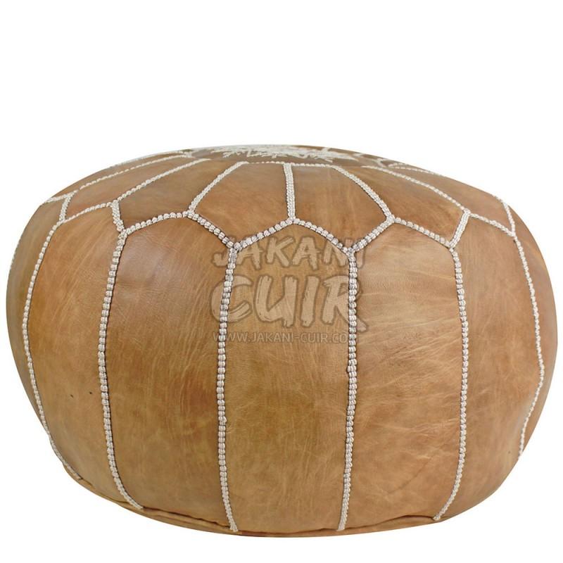 pouf en cuir marocain pouf marocain fabriqu la main pouf en cuir marocain couleur naturel. Black Bedroom Furniture Sets. Home Design Ideas