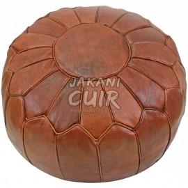 Pouf En Cuir Marocain Artisanal
