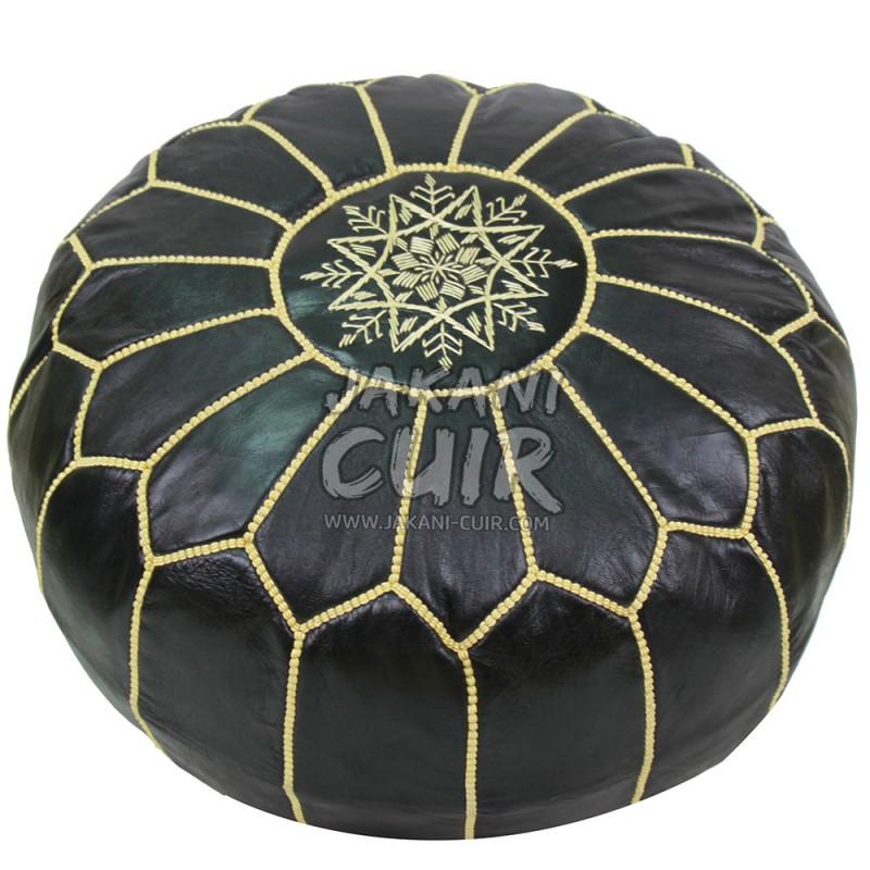 pouf en cuir marocain pouffe en cuir ottoman pouffe cuir marocaine artisanale. Black Bedroom Furniture Sets. Home Design Ideas