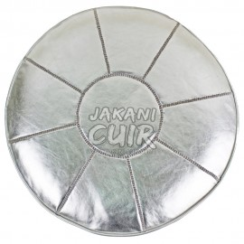 pouf en cuir argentée marocain