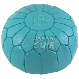 moroccan leather pouf bleue turquois