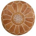 Pouf en cuir marocain cousu main Réf:PS2-A