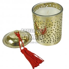 Glass and perforated leather tealight Ref:BG15