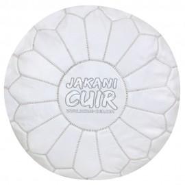 Pouf Blanc En Cuir Marocain Artisanal