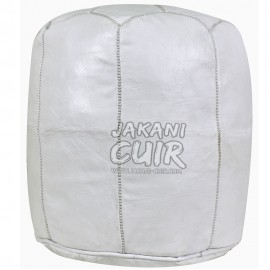 Moroccan White Leather Stool  Ref:TB4-4