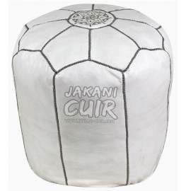 Moroccan White Leather Stool Ref:TB4-6