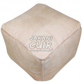Vintage Pouf In Moroccan leather  Ref:PCF1-A