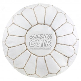 Pouf Blanc En Cuir Marocain Réf:PSS4-37
