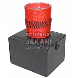 Glass and perforated leather tealight Ref:BG22
