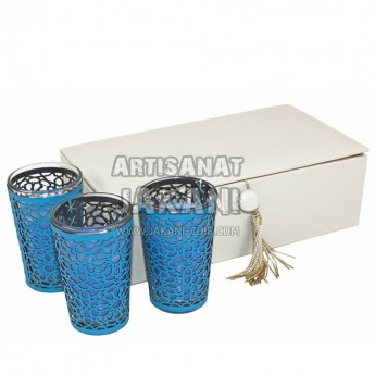 Glass and perforated leather tealight Ref:BG25