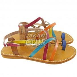 Sandale En Cuir Marocain Noir Réf:S1H