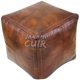 Vintage Pouf In Moroccan leather