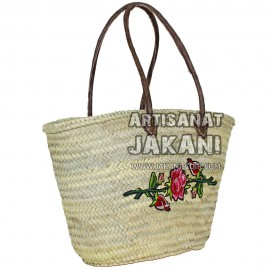 Braided basket with floral decoration in wool Ref: PN40