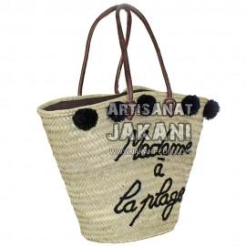 Basket with multicolor pompoms Ref:PN42