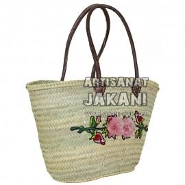 Panier tressé avec décoration florale en laine Réf:PN41