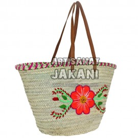 Braided basket with floral decoration in wool Ref: PN45