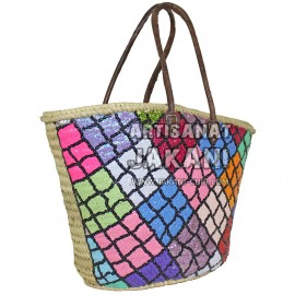 Multi-colored straw basket Ref:PN49
