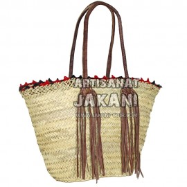 Beach basket with natural fringe leather Ref:PN51