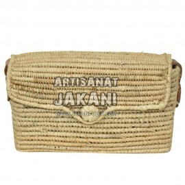 Square clutch in palm leaf Ref: PN54