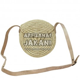 Round clutch in palm leaf Ref: PN5