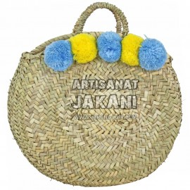 Round woven basket with pompoms Ref:PN82