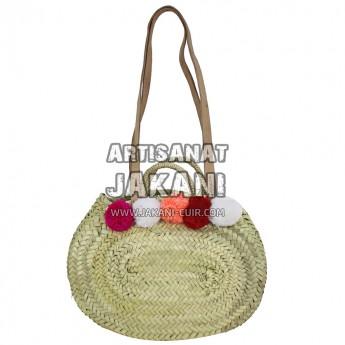 Round basket with pomponsRef:PN83