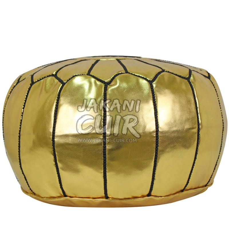 Moroccan Leather Pouf Pouffe Artisanal Moroccan Pouf In Gold And Black Classy White And Gold Pouf