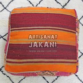 Pouf Vintage En Kilim MarocainVintage Moroccan Floor Pouf Réf:PK1-60