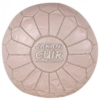 Moroccan Lleather Pouffe Pink Ref:PSC37-37