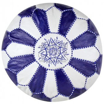 MOROCCAN POUF IN WHITE AND DARK BLUE