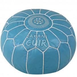 Pouf Marocain Couleur Bleu Ciel Réf:PSC38-4