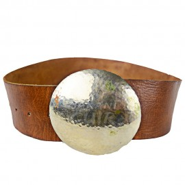 Wide leather belt round buckle Ref:CTLA