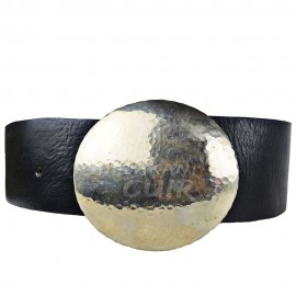 Wide leather belt round buckle Ref:CFLC