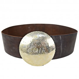 Wide leather belt round buckle Ref:CFLB