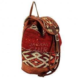 Laether Backpach With Red Kilim Ref:Z1