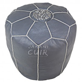 Moroccan Leather Stool Color Gray Ref:TB6-4