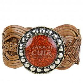 Ceinture artisanale en cuir pour femme Réf:CLA