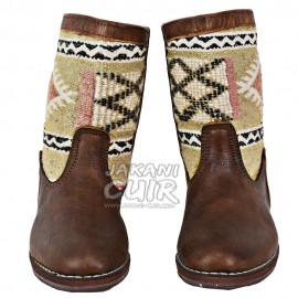 Moroccan leather kilim boots Ref:	B32B