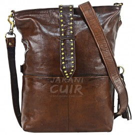 moroccan  modern leather bag brown