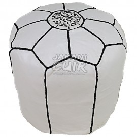 Moroccan White Leather Stool Ref:TB4-5