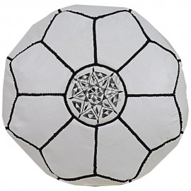 Tabouret Blanc En Cuir Marocain Réf:TB4-5