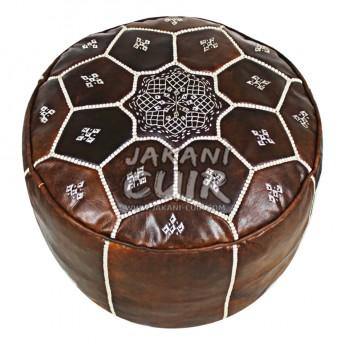 Pouf En Cuir Marocain Artisanal Réf: PSR2-2