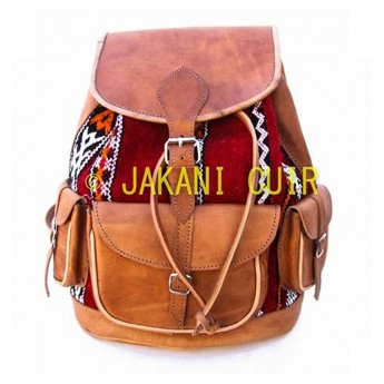 Leather Backpack  with kilim