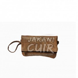 Wallet leather bag with Kilim